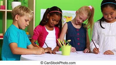 table, mignon, camarades classe, dessin