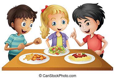 table, nourritures, gosses, regarder
