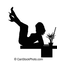 table, ordinateur portable, girl, illustration