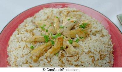 table, traditionnel, riz, habillé, haché, sides., persil, saumure, délicieux, légume, poulet frit
