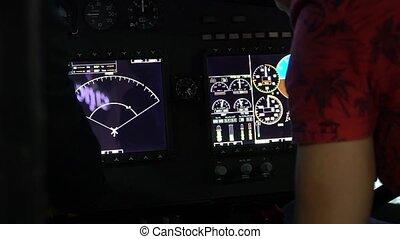 tableau bord, hélicoptère, presses, blogger, doigt, sien