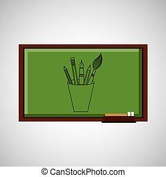 tableau noir, école, concept, outils, education