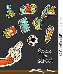 tableau noir, école, main, dos, icônes