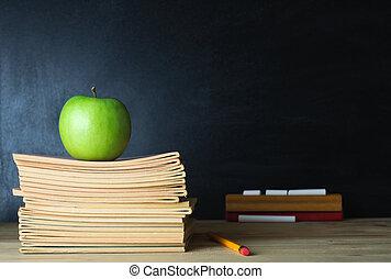 tableau noir, école, professeur, bureau