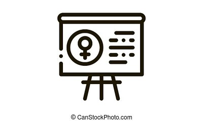 tableau noir, animation, icône, femme