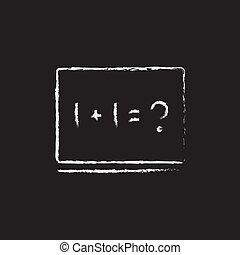 tableau noir, chalk., maths, dessiné, exemple, icône