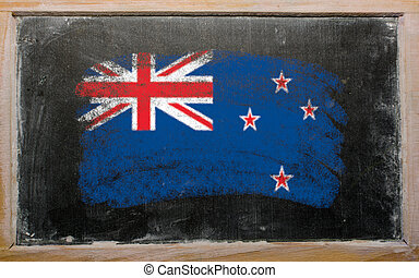 tableau noir, craie, zélande, drapeau, nouveau, peint