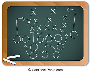tableau noir, football, stratégie, jeu, collaboration, plan