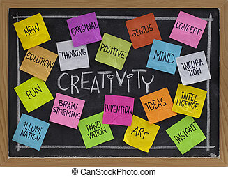 tableau noir, mot, nuage, créativité