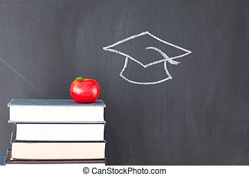 tableau noir, pomme, pile, casquette, livres, remise de diplomes, il, dessiné, rouges