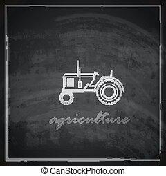 tableau noir, tracteur, illustration, icône, vecteur, ferme, arrière-plan., concept