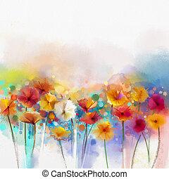 tableauabstrait, aquarelle, floral