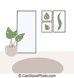 tableaux, flower., salle, mur, intérieur, trois, floor., feuilles, exotique, miroir, beige, shades., intérieur, potted, scandinave, rond, moquette