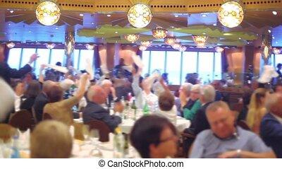 tables, gens, beaucoup, asseoir, vague, châles, bateau, restaurant
