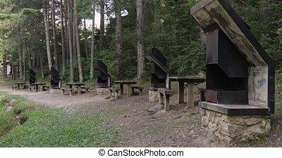 tables pique-nique, bois, barbeque., park., métal, public, espagne, groupe, catalogne, secteur, bancs