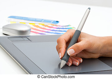 tablet., main, stylo, femme, numérique, utilisation