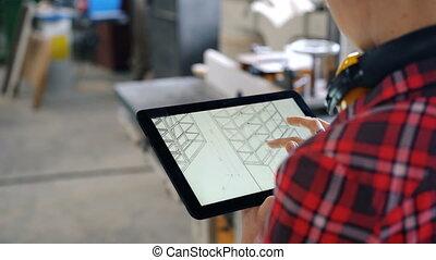 tablette, écran, charpentier, regarder, atelier, conception, utilisation, meubles