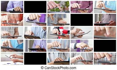 tablette, écran, moderne, main, toucher, pc., homme numérique