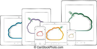 tablette, business, graphiques, téléphones, pc, tableau bord, intelligent