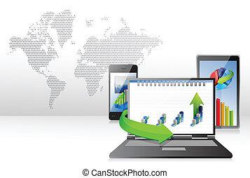 tablette, business, ordinateur portable, graphiques, informatique, téléphone.