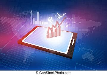 tablette, business, tableur, quelques-uns, diagrammes, informatique, projection, pc