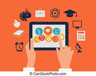 tablette, concept., icons., toucher, vector., mains, e-apprendre, education