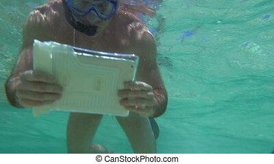 tablette, corail, pc, récif, tir, homme