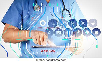tablette, docteur, fonctionnement, moderne, interface, informatique, virtuel, médecine