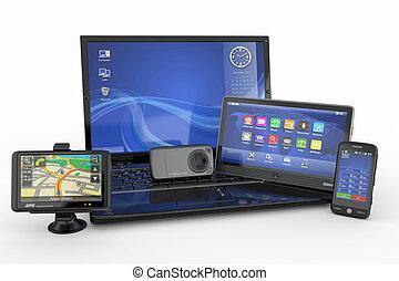 tablette, electronics., mobile, ordinateur portable, pc, téléphone, gps