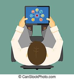 tablette, informatique, seo, infographics