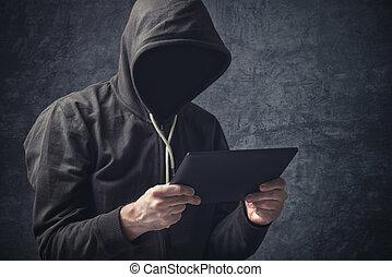 tablette, informatique, unrecognizable, anonyme, homme numérique