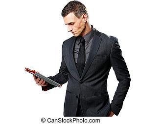 tablette, isolé, informatique, fond, homme affaires, utilisation, blanc
