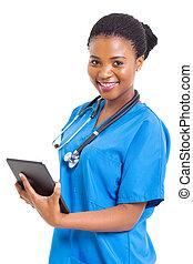 tablette, monde médical, américain, informatique, africain femelle, infirmière
