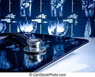 tablette, monde médical, moderne, stéthoscope, fond, numérique, images, laboratoire, rayon x