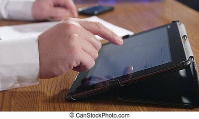tablette, numérique, homme affaires, utilisation