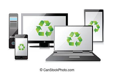 tablette, ordinateur portatif, téléphone, recycler, routeur