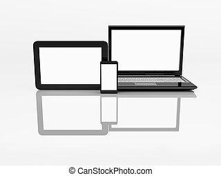 tablette, pc., mobile, electronics., téléphone, ordinateur portable, 3d