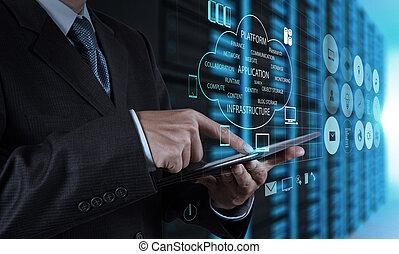tablette, serveur, homme affaires, main, informatique, utilisation, salle