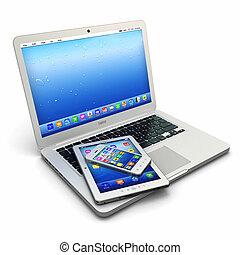 tablette, téléphone, mobile, ordinateur portable, pc, numérique