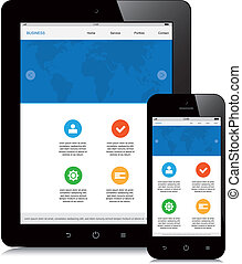 tablette, téléphone, webdesign, fond, sensible, blanc