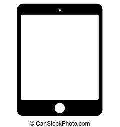 tablette, vecteur, arrière-plan noir, blanc, icône