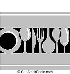 tableware:fork, , couteau, plaque, gris, verre