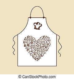 tablier, croquis, amour, cooking!, ustensiles, conception, ton, cuisine
