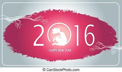 tache, silhouette, singe, ink., -, illustration, peinture aquarelle, vecteur, lettre, année, grunge, 2016, ou