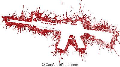 taches, assaut, sanguine, fusil