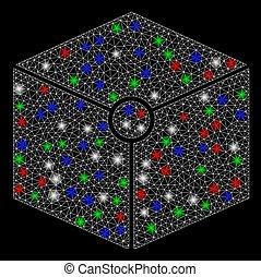 taches, cube, carcasse, lumière, sommet, clair, maille