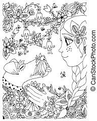 taches rousseur, étreindre, anti, girl, garden., coloration, cartoon., griffonnage, renard, fleurs, livre, noir, cadre, illustration, white., adults., zentangl, tension, chien, forêt, vecteur, terrier.