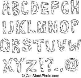 tacheté, dessiné, main, alphabet