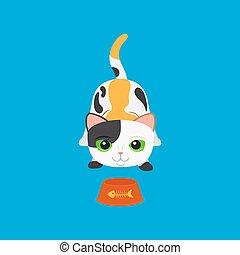 tacheté, mignon, bol, dessin animé, chat