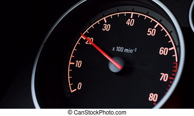 tachymètre, voiture, en mouvement, it., indicateur